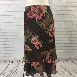 Mixed Print Floral Skirt w/ Tiered Ruffle
